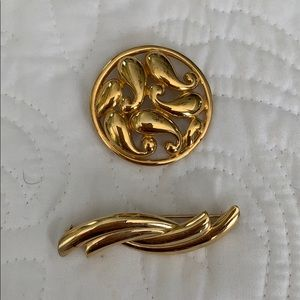TWO beautiful goldtone brooches